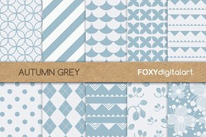 Floral Grey Silver Digital Paper