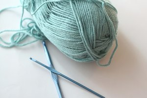 Blue Yarn & Crochet Hooks
