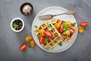Vegetable and cheese savory waffles