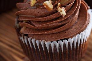 Chocolate caramel cupcake with nuts