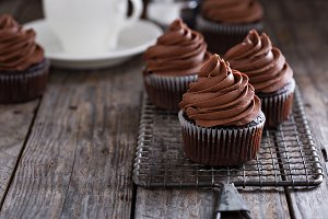 Chocolate cupcakes with whipped ganache