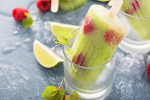 Cucumber lime raspberry spa popsicles