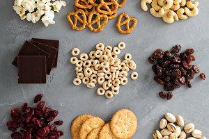 Variety of healthy snacks overhead shot