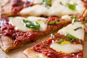 Grilled Margherita pizza with tomato sauce and mozzarella