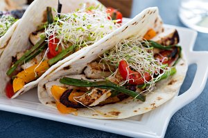 Vegan tacos with grilled tofu and vegetables