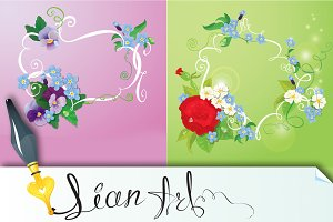 2 floral backgrounds with frames