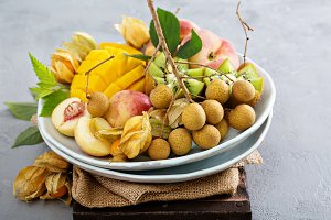 Assorted tropical fruits on a plate