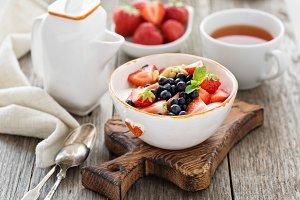 Greek yogurt bowl with fresh berries and nuts