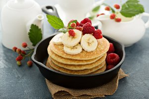 Fluffy buttermilk pancakes with bananas
