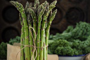 Bunch of fresh green asparagus
