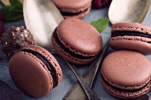Chocolate french macarons with ganache filling