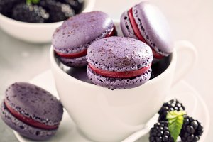 French macarons on a gray table