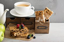 Lunch to go for office or school granola bars