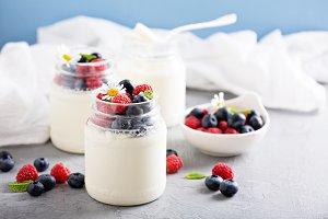 Fresh homemade yogurt in small jars
