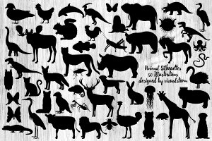 50 Animal Silhouettes Clipart Bundle