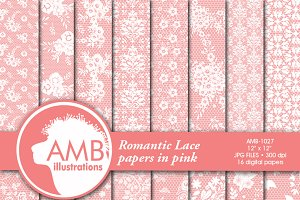 Pink Lace Digital Papers 1027