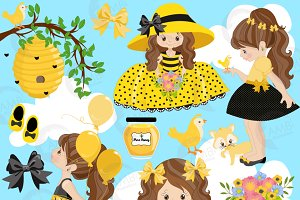 Bumble Bee Girls Clipart 1054