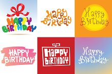 Happy Birthday Card vector set