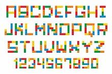 Plastic construction blocks alphabet