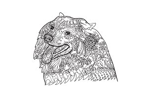 Line art of spritz dog with pattern