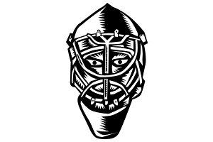 Ice Hockey Goalie Helmet Woodcut
