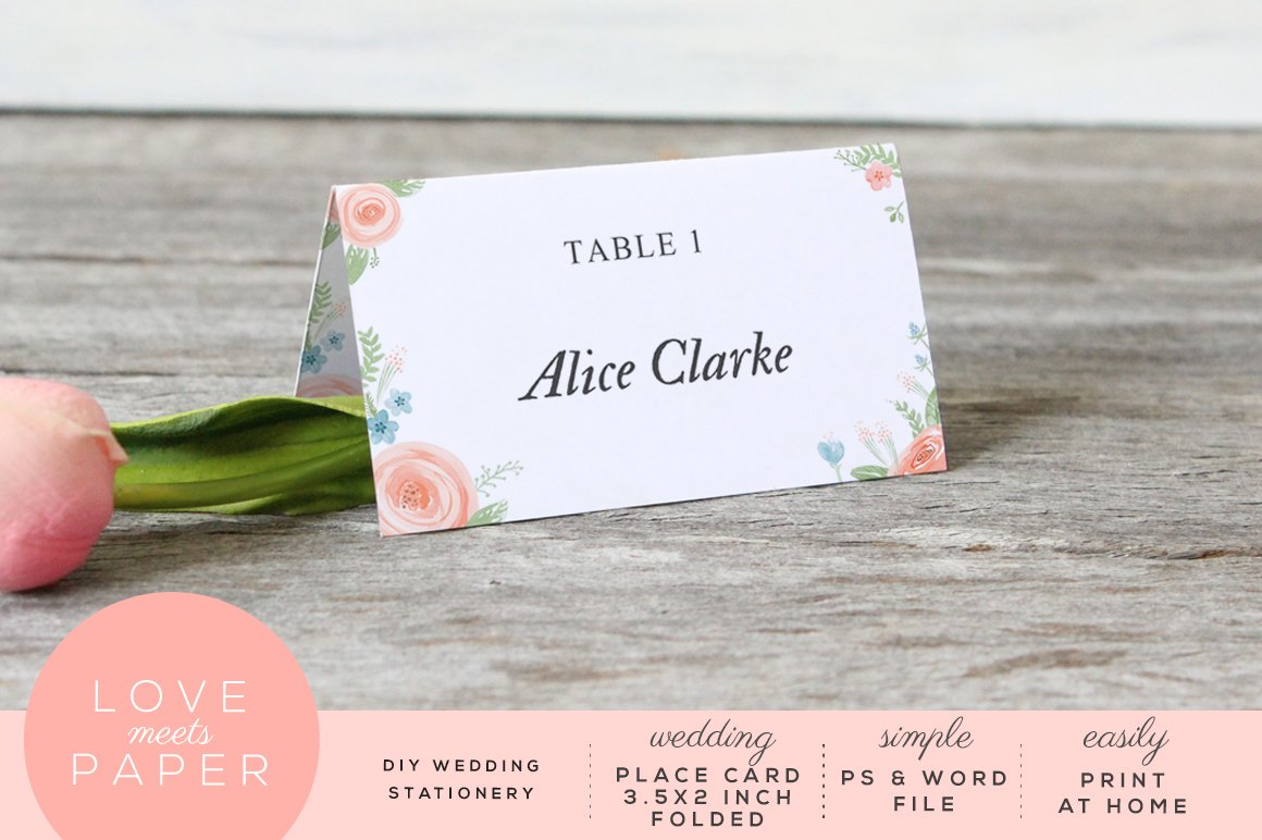 Table Name Place Card PC Card Templates Creative Market - Place card dimensions