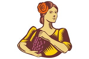 Senorita Holding Grapes Woodcut
