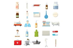Medicine equipment icons set