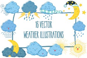 16 Vector Weather Illustrations