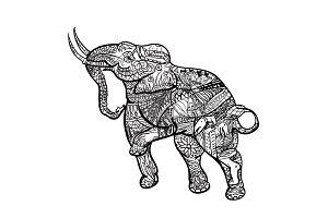 Elephant with elegant pattern