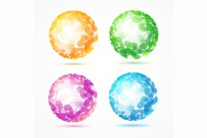 Abstract Sphere Colorful Set. Vector
