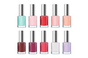 Colorful Nail Polish Bottle Set.