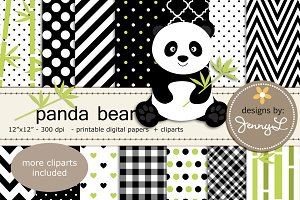 Panda Bear Digital Papers & Clipart