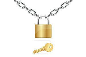 Chain, Padlock and Key. Vector