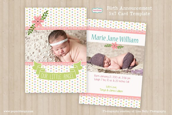 5x7 Birth Announcement Card Card Templates Creative Market – Birth Announcement Cards