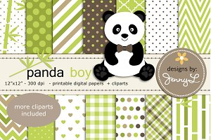 Panda Boy Digital Papers & Cliparts