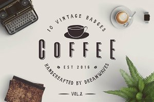 10 Vintage Coffee Badges Vol.2