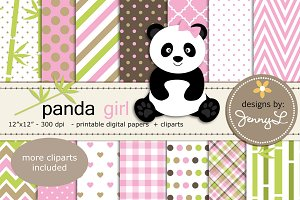 Panda Girl Digital Papers & Cliparts