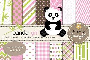 Panda Girl Digital Papers & Cliparts
