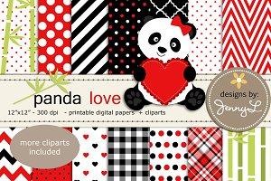 Panda Love Digital Papers & Cliparts