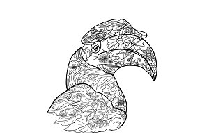 Line art of great hornbill bird