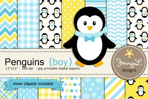 Penguin Boy Digital Papers & Clipart
