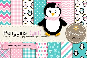 Penguin Girl Digital Paper & Clipart