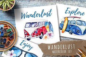 Watercolor travel & surfung set