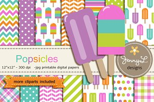 Popsicles Digital Papers & Cliparts