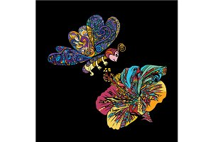 Colorful line art of butterfly