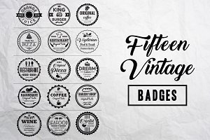 Fifteen Vintage Badges