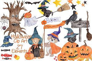 Watercolor Halloween kids clipart