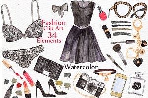 Watercolor fashion clipart