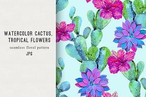 Watercolor cactus,hibiscus pattern